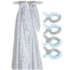 Nuscheli XL mit Clip, 2er pack, Lulujo, blau