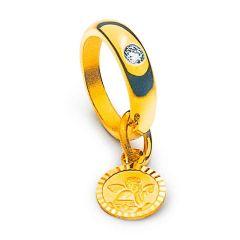 Taufring Gelbgold 18K/750 mit Edelstein, Geschenkidee zur Taufe Mädchen oder Junge, Gratis Versand