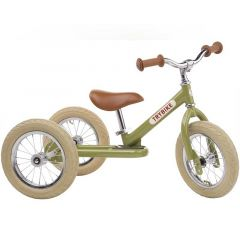 Dreirad Trybike Laufrad Stahl 2-in-1 Vintage look, ab 15 Monate, grün