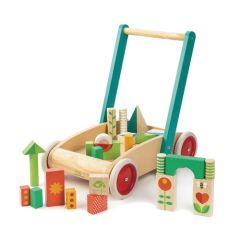 Lauflernwagen mit Klötzen, die ersten Schritte des Babys, ab 1 Jahr, Tender Leaf Toys