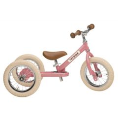 Dreirad Trybike Laufrad Mädchen Stahl 2-in-1 Vintage look, ab 15 Monate pink