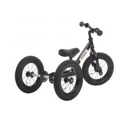 Dreirad Trybike Laufrad Stahl 2-in-1 Vintage look, ab 15 Monate, schwarz