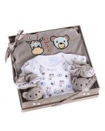 Neugeborenen Geschenkset Zoo grau, Les Bébés d'Elizéa
