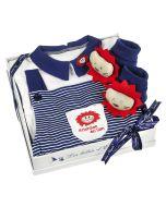 Geschenkset für Junge, mit Overall Löwe blau 3 Monate, Les Bébés d'Elizéa