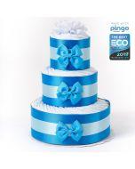 Windeltorte ökologischen Pingo Windeln (60x), kostenlose Lieferung in die Schweiz, Geschenk Geburt Junge, blau