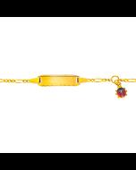 Baby Armband, Gravurplatte rechteckig lang mit Käfer Anhänger, Gold 750, Gratis Versand in die Schweiz